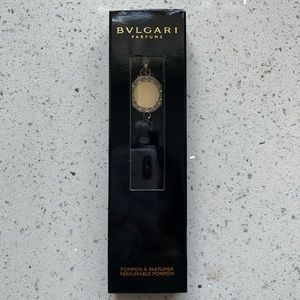 NWT BVLGARI Tassel Bag Charm Keychain Black/Silver
